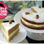 Vollkorn-Zitronenkuchen mit Mascarponecrème und gebrannten Mandeln