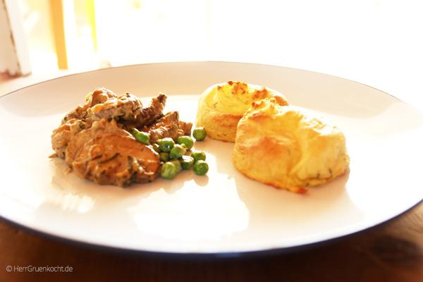 Pilzragout mit Thymian-Spritzkartoffeln aus dem Backofen