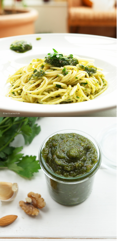 Spaghetti Pozzo mit selbst gemachtem Petersilien-Pesto