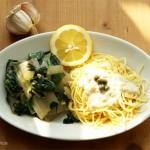 Mangold mit Spaghetti und Sauce Cici (Senf, Zitronen, Kapern)