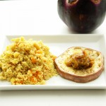 Couscous mit gebratenen Auberginen und Senf-Datteln