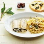 Auberginen-Involtini mit Salbei-Ricotta und Datteln in Marsalasauce