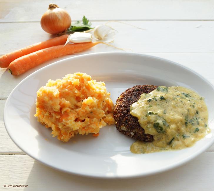 Möhren-Stampfkartoffeln mit Quinoa-Frikadellen und einer pikanten Senfsauce