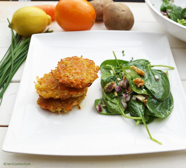 Kartoffel-Möhren-Puffer mit Babyspinat-Salat und einer delikaten Zitronette