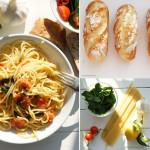 Zum sonnigen Wetter: Spaghetti Tromba und italienische Brötchen