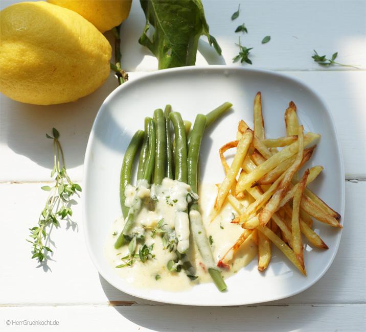 Strauchbohnen mit Zitronen-Thymiansauce und Pommes Allumettes
