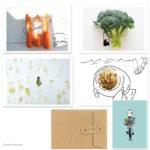 5 Herr Grün Postkarten im schönen Umschlag mit Bindfadenverschluss