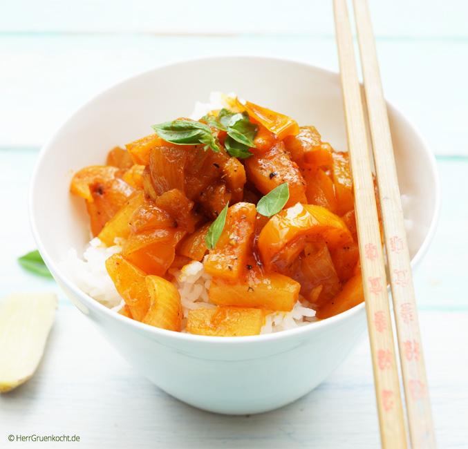 Reis mit süß-saurer Sauce vegetarisch