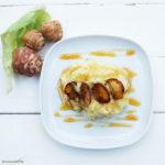 Kartoffel-Blumenkohl-Püree mit karamellisierten Topinamburscheiben und Kokosblütensirup