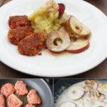 Stampfkartoffeln mit Dinkel-Rote-Bete-Küchlein und Apfel-Zwiebel-Ringen