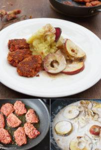 Stampfkartoffeln mit Rote Bete Küchlein