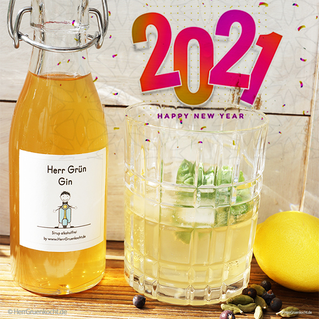 Für Silvester: Den alkoholfreien Gin-Sirup von Herrn Grün zum Selbermachen mit herunterladbarem Etikett