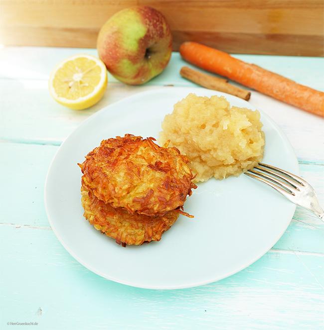 Kartoffel-Möhren-Puffer mit selbst gemachtem Apfelmus