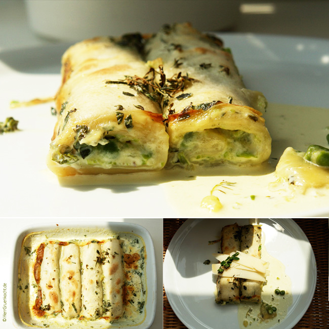 Cannelloni with pureed oregano peas