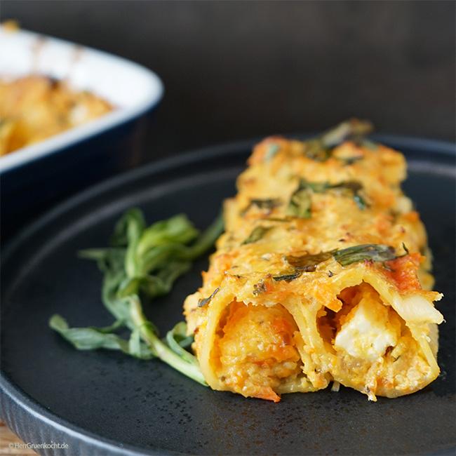 Vegetarische Cannelloni mit Ofengemüse und Estragon